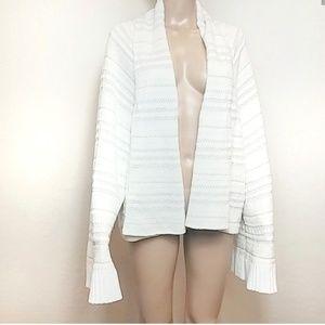 Anthro |Moth Cozy Oversized Cream Striped Cardigan
